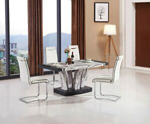 MDF Marble Effect Coffee Table Black & White Not Real Marble Matching Dining Ava