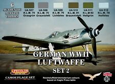 LIFECOLOR PAINT German WWII Luftwaffe #2 Camouflage Acrylic Set 6 22ml Bottles