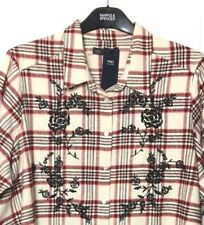 M&S Marks s24 Red Mix Check Embroidered Soft Cotton Long Blouse Top Shirt BNWT