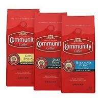 Community Coffee Variety Pack Ground (3 Pack) Breakfast Blend Raosted Cafe Dark