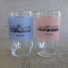 Mid Century Agee Crown Pyrex Drinking Glass Collector Series Trains P6 8N Class
