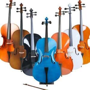 4/4 Size 7 Color Professional Acoustic Cello Set w/Bag+ Bow+ Rosin+ Bridge