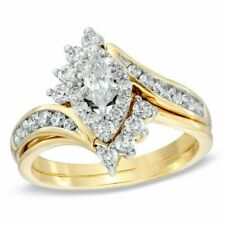 2CT Marquise Cut Diamond Wedding Engagement Ring Set 18k SOLID Yellow Gold