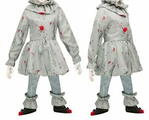 Boys Pennywise IT Fancy Dress Crazy Horror Clown Kids Halloween Costume Outfit