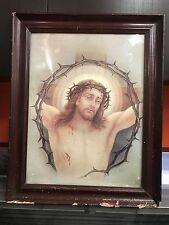 Quadro Stampa vintage anni 20 Gesù in croce INRI con cornice e vetro Arte Sacra