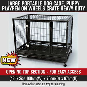 42'' Portable Large Dog Cage Heavy Duty Pet Puppy Playpen Crate Kennel on Wheels