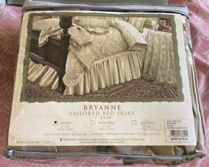 Waterford Bryanne Platinum Gath Bedskirt  Bronze With Brown Khaki Stripes Queen