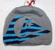 QUICKSILVER Beanie Hat Ski Snow Winter Gray Blue Logo Fleece Lined NWT $24 FBB