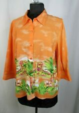 Christopher and Banks Top 3/4 Sleeve Button Down Size PL Hawaiian #W4