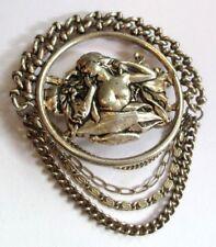 Belle Ancienne grande broche Art Déco métal argenté bijou vintage 4464