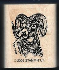 RAM BIG HORN HEAD YUKON Wildlife Scene Animal Stampin Up! 2002 Wood RUBBER STAMP