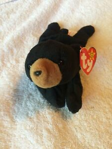 RARE VINTAGE ORIGINAL - TY Beanie Baby Blackie the bear 1993 Tush Tag Errors