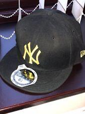 NEW ERA 59FIFTY NY kids Black With Yellow Baseball Cap Size 6 5/8 New Genuine