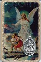 Carte médaille image pieuse plastifiée Ange Gardien 8,5 cm x 5,4 cm