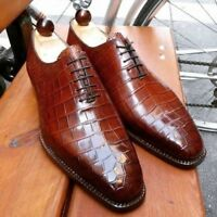 Men,s Handmade Leather Shoes, Formal Crocodile Texture Leather Men Brown Shoes