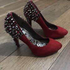 SAM EDELMAN Roza women goth red suede spiked stud Embe heels EUC SIZE 6.5