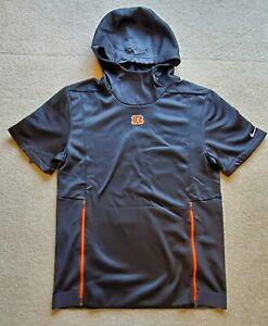 Nike NFL On Field Cincinnati Bengals Short Sleeve Hoodie SZ Small NWT $90 Black