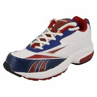 Reebok Winning Stride 11 J89264 Boys White Royal Red Lace Up Trainers (R9B)