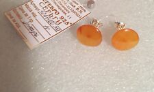 New Earrings Silver 925 Baltic Amber Pin Circle studs round Small Russia jewelry