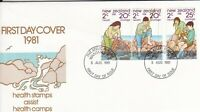 NZFD1030) NZ 1981 Health Stamps Assist Health Camps FDC