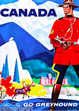 Canadian Mountie Bus Vintage Canada Canadian Travel Advertisement Poster