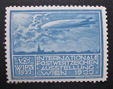 AUSTRIA 1933 Mint WIPA Light Blue Color Variation Zeppelin Expo Stamp MLH OG