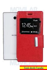 Funda tapa Flip Cover tipo libro con soporte y ventana Sony Xperia M2 Aqua roja