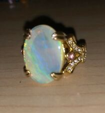 Natural Australian Crystal Opal And Pink Topaz Ring