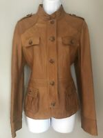 MASSIMO DUTTI LEATHER TAN LADIES JACKET COAT LARGE 14-16