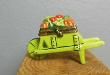 Limoges Wheel Barrow Trinket Box with Vegetables Hand Painted 3.5""