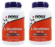 Now Foods L-Ornithine, 500 mg, 120 Veg Capsules, Fitness Amino Acid, 2 Pack