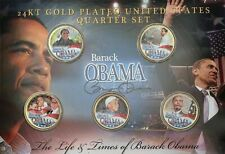 24k GOLD PLATED COLORED U.S. State Quarters 'THE LIFE & TIMES of BARACK OBAMA'