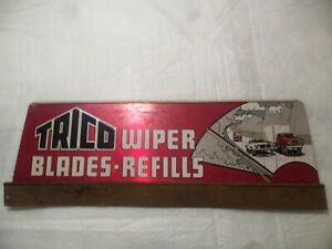 """Vintage TRICO WIPER BLADES & REFILLS 29.5"""" METAL SIGN from gas station display"""