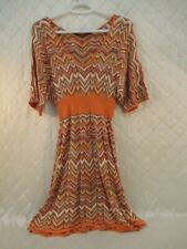 BCBG Max Azria Beata Chevron  Silk Knit Dress Orange Missoni 70s Style XXS
