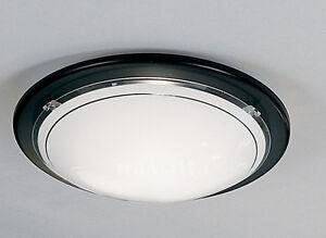 BLACK FLUSH GLASS CEILING OR WALL LIGHT