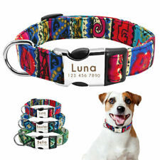 Nylon Dog Collar Personalised Engraved ID Tag Heavy Duty Buckle Small Large SML