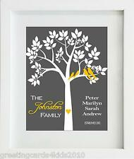 Personalised Family Tree Print & Strut Mount Gift
