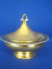 "Antique Rare Victoria Czechoslovakia 24Kt Gold Plated Porcelain 7"" Covered Bowl"