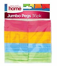 36PK PLASTIC JUMBO PEGS CLOTHES STRONG WASHING DRYING CLOTHES LAUNDRY UK STOCK