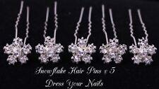 Snowflake Hair Pin Clear Crystal & Alloy Shaped Hairpin Winter Bridal-DYN-HP-089