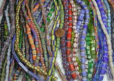 "15 STRANDS ASSORTED CHEVRON GLASS BEADS LOT 16"" STRANDS (CH-2)"