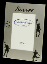 """3.5"""" x 5"""" Brushed Silver Metal Soccer Themed Photo Frame with Stand"""