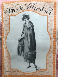 "Original French ""LA MODE ILLUSTREE"" Magazine Nov 6, 1921 with pre-cut pattern"