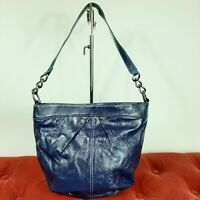 HOBO International Blue Small Bucket Handbag Shoulder Purse Leather Soho GUC