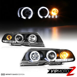 00-03 BMW E46 3-SERIES 01-06 M3 Black Halo Angel Eyes Projector Headlight Lamps