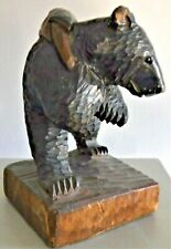 Vintage Hand Carved Wood Grizzly Bear With Fish On Back 7' Tall Glass Eyes