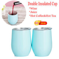 2x 12oz  Stainless Steel Wine Glass Double Wall Vacuum Insulated Tumbler Blue LZ