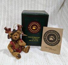 """Boyds Bears """"Wolfgang"""" #25733 Christmas Ornament Red Reindeer Bells Nib!"""