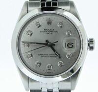 Men Rolex Date Stainless Steel Watch Jubilee Style Band Silver Diamond Dial 1500