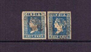 INDIA 1854 ½a x 2 SHADES 4 MARGINS USED